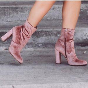 Steve Madden Pink Velvet Boots